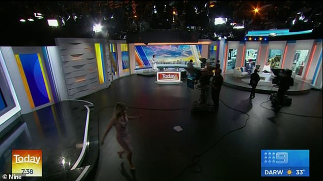 Quick dash! The Channel Nine personality was seen running across the set in high heels as she left the studio